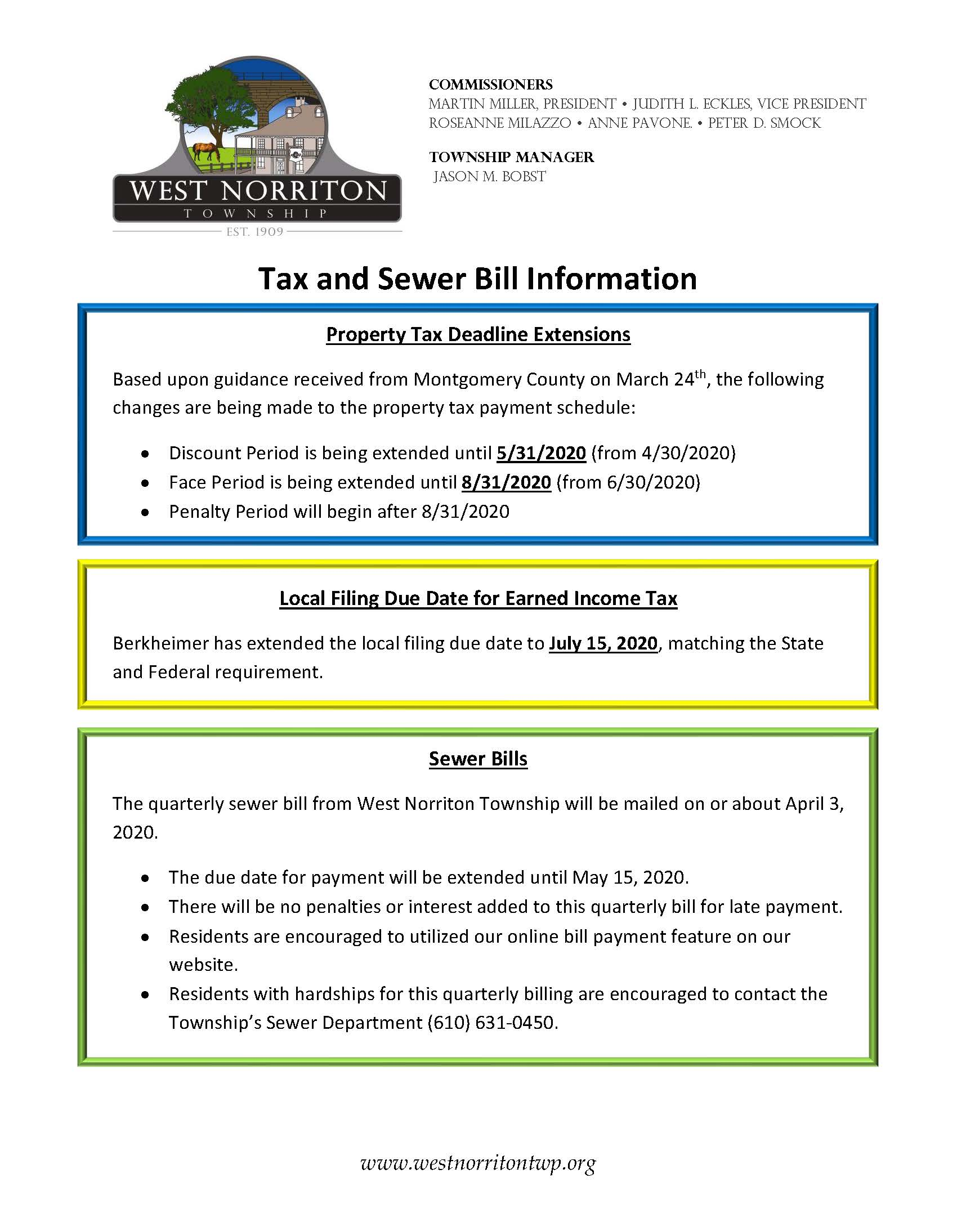 Tax and Sewer Information